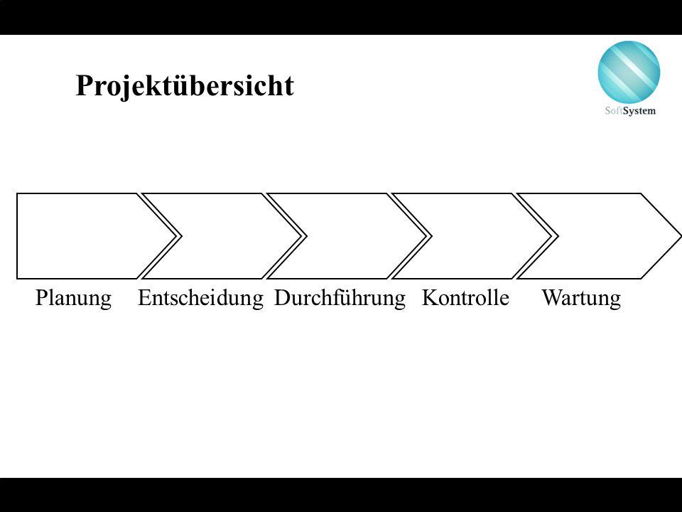 Projektübersicht Planung Entscheidung Durchführung Kontrolle Wartung