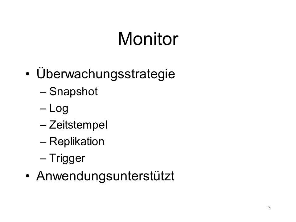 Monitor Überwachungsstrategie Anwendungsunterstützt Snapshot Log