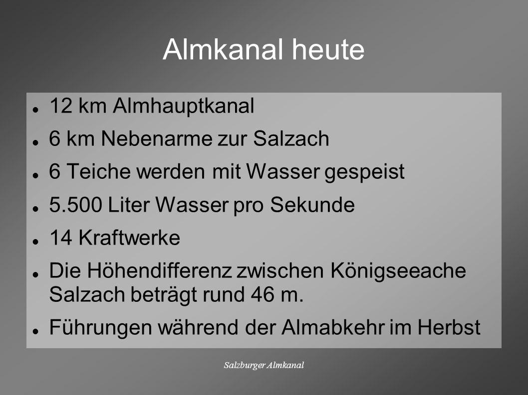 Almkanal heute 12 km Almhauptkanal 6 km Nebenarme zur Salzach