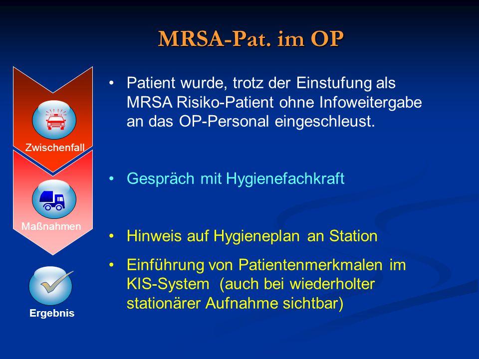 MRSA-Pat. im OP Patient wurde, trotz der Einstufung als MRSA Risiko-Patient ohne Infoweitergabe an das OP-Personal eingeschleust.