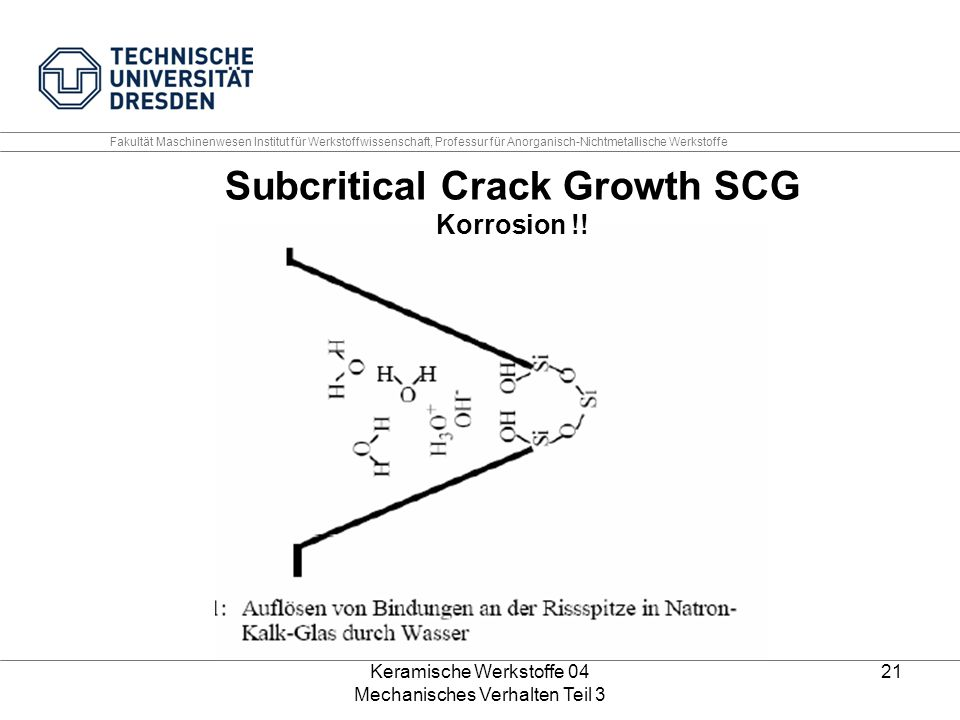 Subcritical Crack Growth SCG