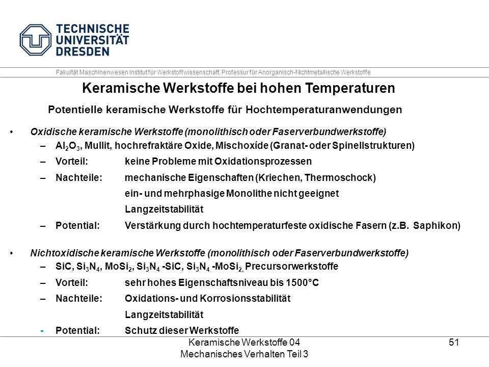 Keramische Werkstoffe bei hohen Temperaturen