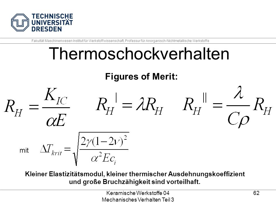 Thermoschockverhalten Figures of Merit: