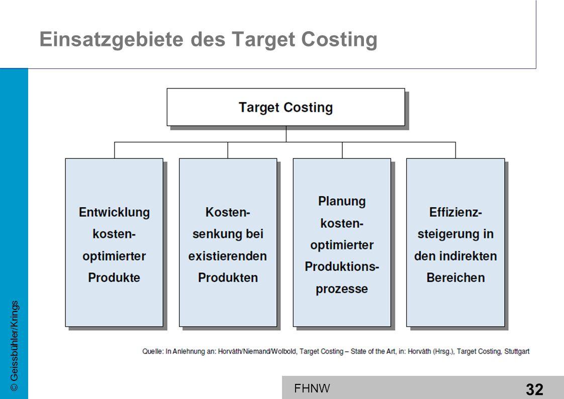 Einsatzgebiete des Target Costing