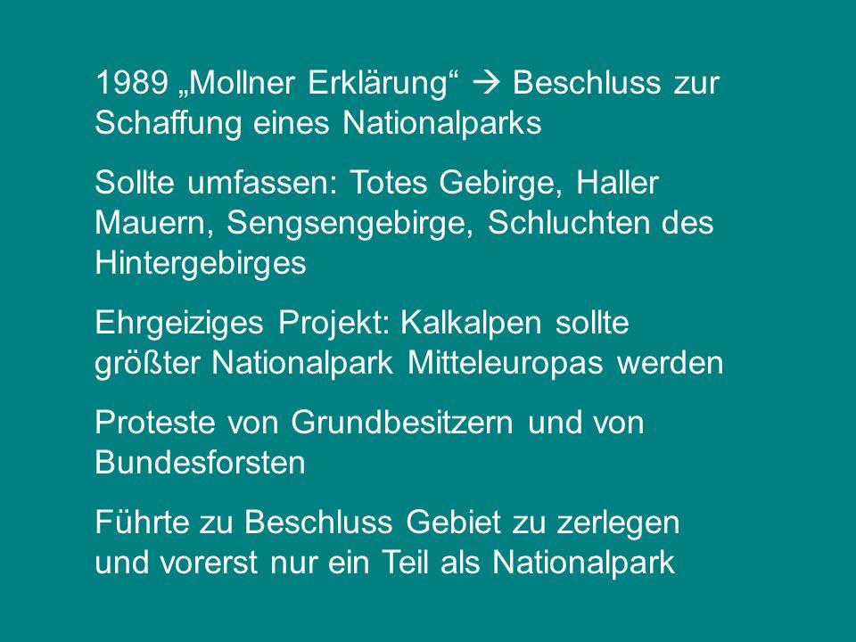 """1989 """"Mollner Erklärung  Beschluss zur Schaffung eines Nationalparks"""