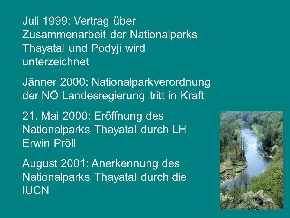 Juli 1999: Vertrag über Zusammenarbeit der Nationalparks Thayatal und Podyjí wird unterzeichnet