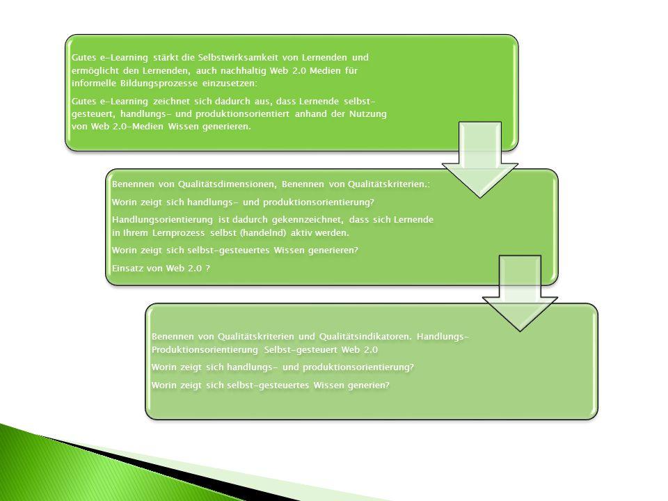 Gutes e-Learning zeichnet sich dadurch aus, dass Lernende selbst-gesteuert, handlungs- und produktionsorientiert anhand der Nutzung von Web 2.0-Medien Wissen generieren.