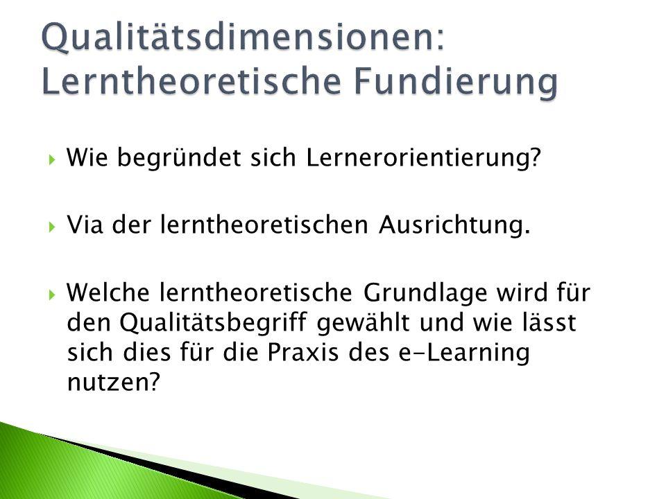 Qualitätsdimensionen: Lerntheoretische Fundierung