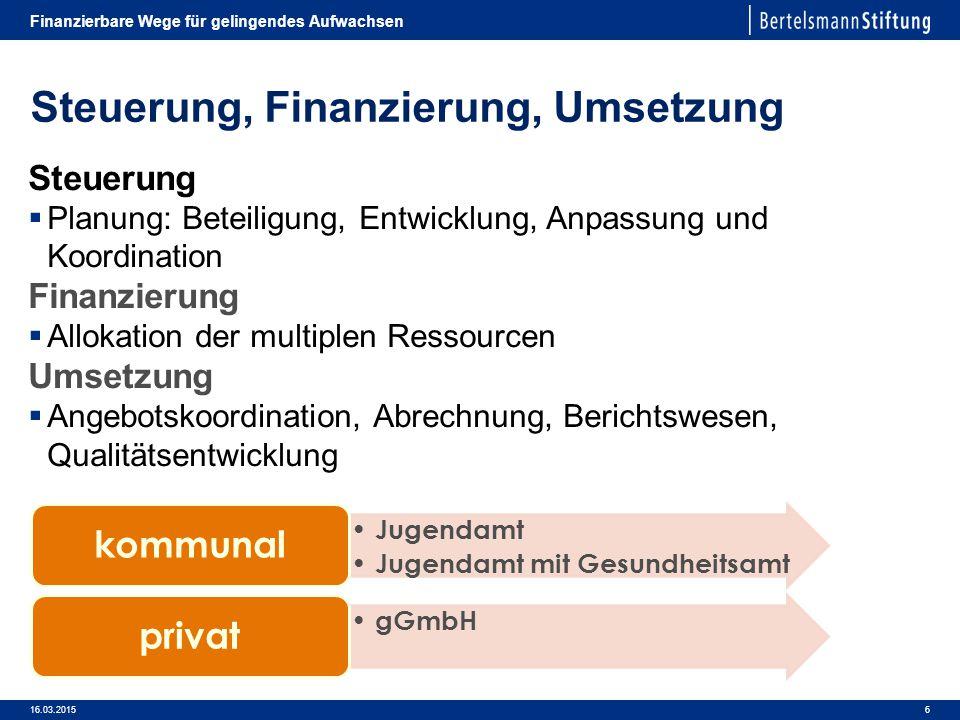 Steuerung, Finanzierung, Umsetzung
