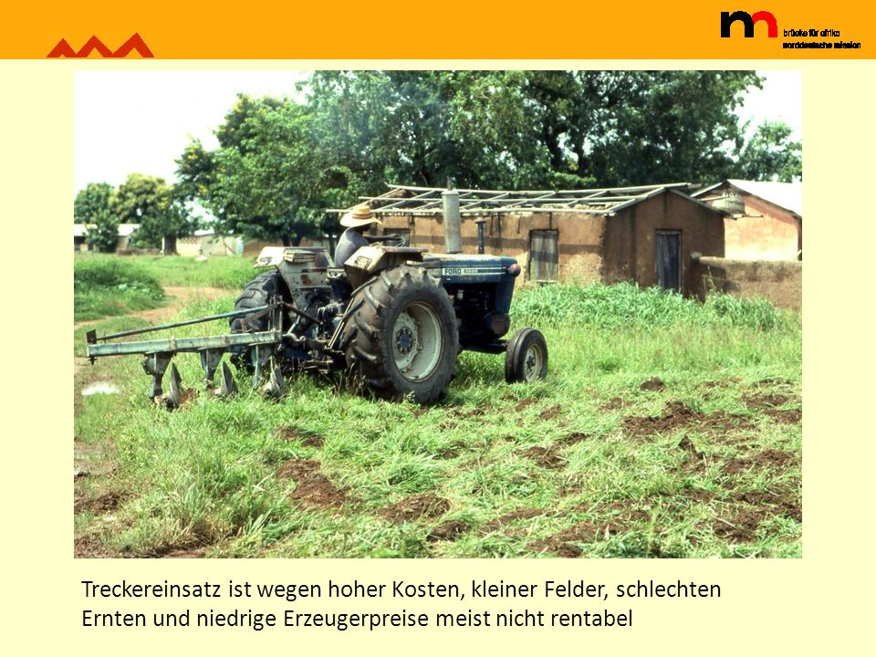 Treckereinsatz ist wegen hoher Kosten, kleiner Felder, schlechten Ernten und niedrige Erzeugerpreise meist nicht rentabel