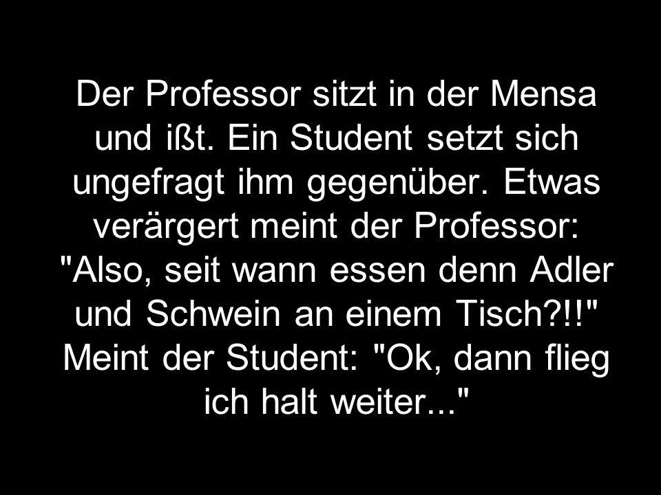 Der Professor sitzt in der Mensa und ißt