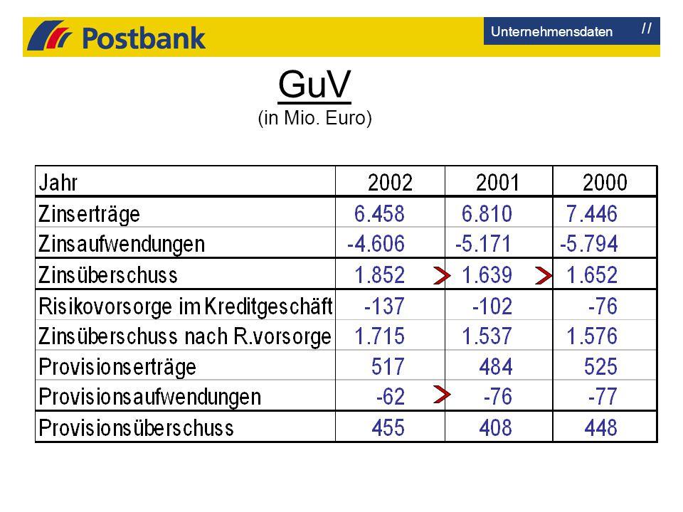 Unternehmensdaten GuV (in Mio. Euro)