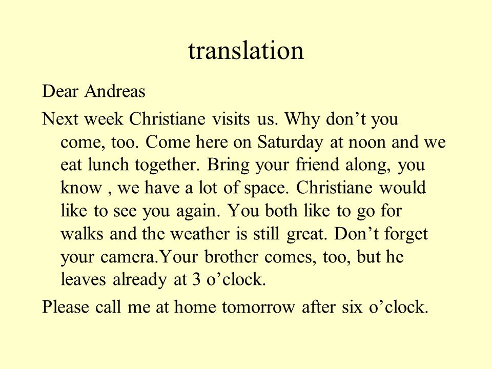 translation Dear Andreas