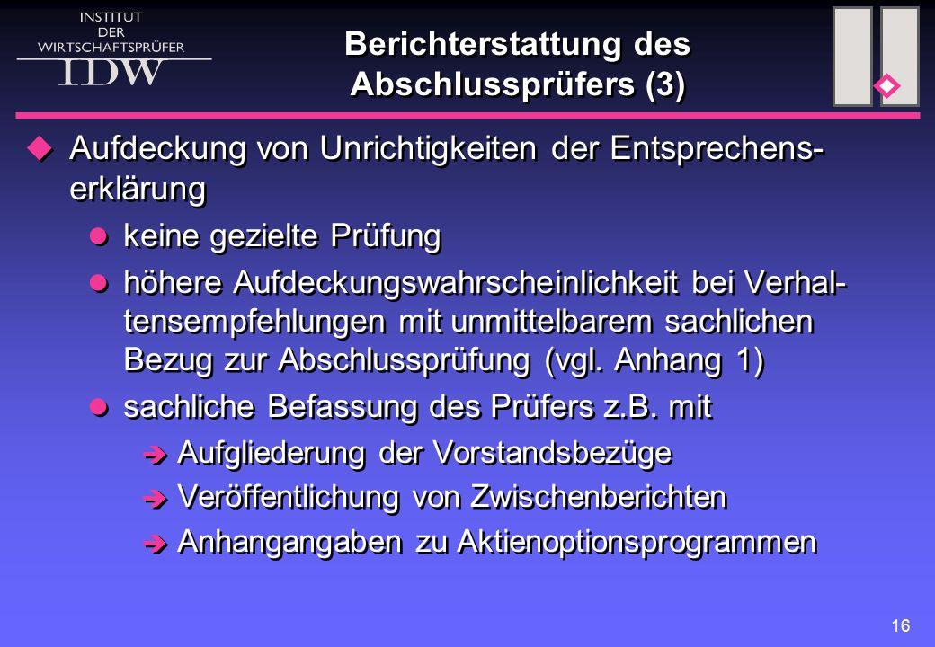 Berichterstattung des Abschlussprüfers (3)