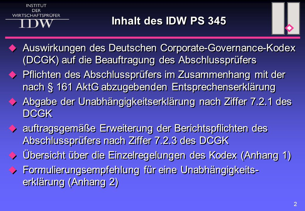 Inhalt des IDW PS 345 Auswirkungen des Deutschen Corporate-Governance-Kodex (DCGK) auf die Beauftragung des Abschlussprüfers.