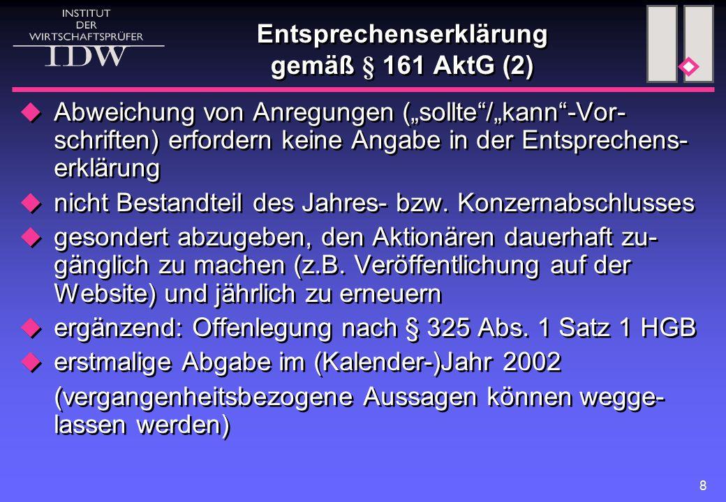 Entsprechenserklärung gemäß § 161 AktG (2)