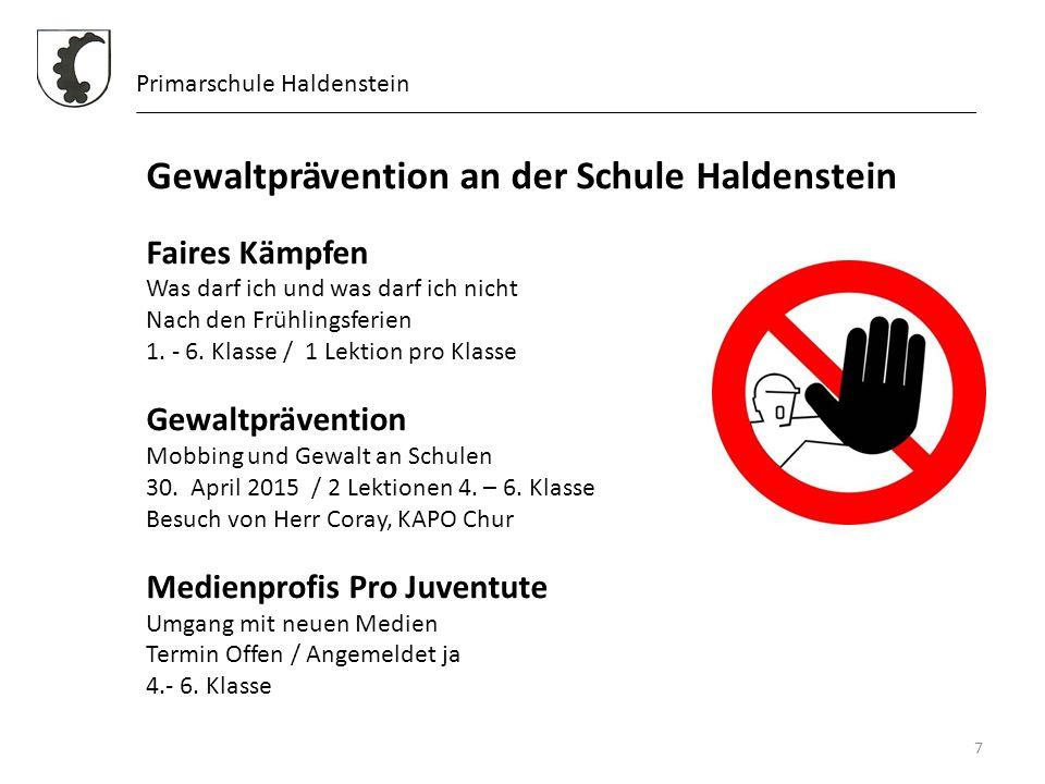 Gewaltprävention an der Schule Haldenstein