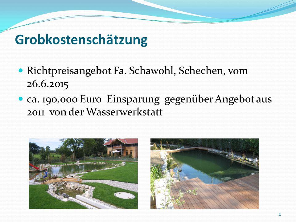 Grobkostenschätzung Richtpreisangebot Fa. Schawohl, Schechen, vom 26.6.2015.