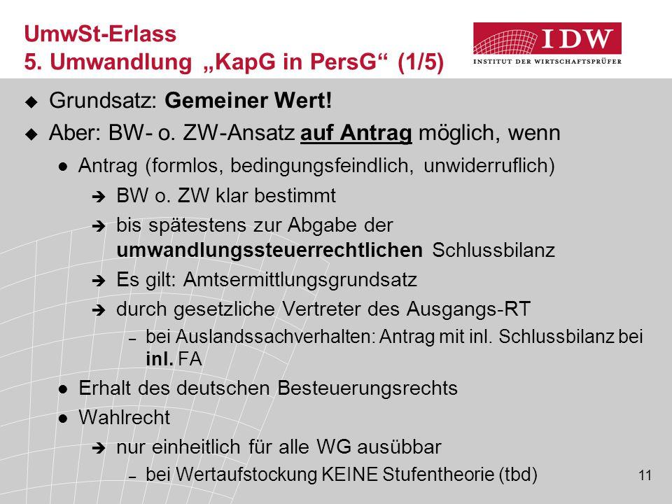 """UmwSt-Erlass 5. Umwandlung """"KapG in PersG (1/5)"""