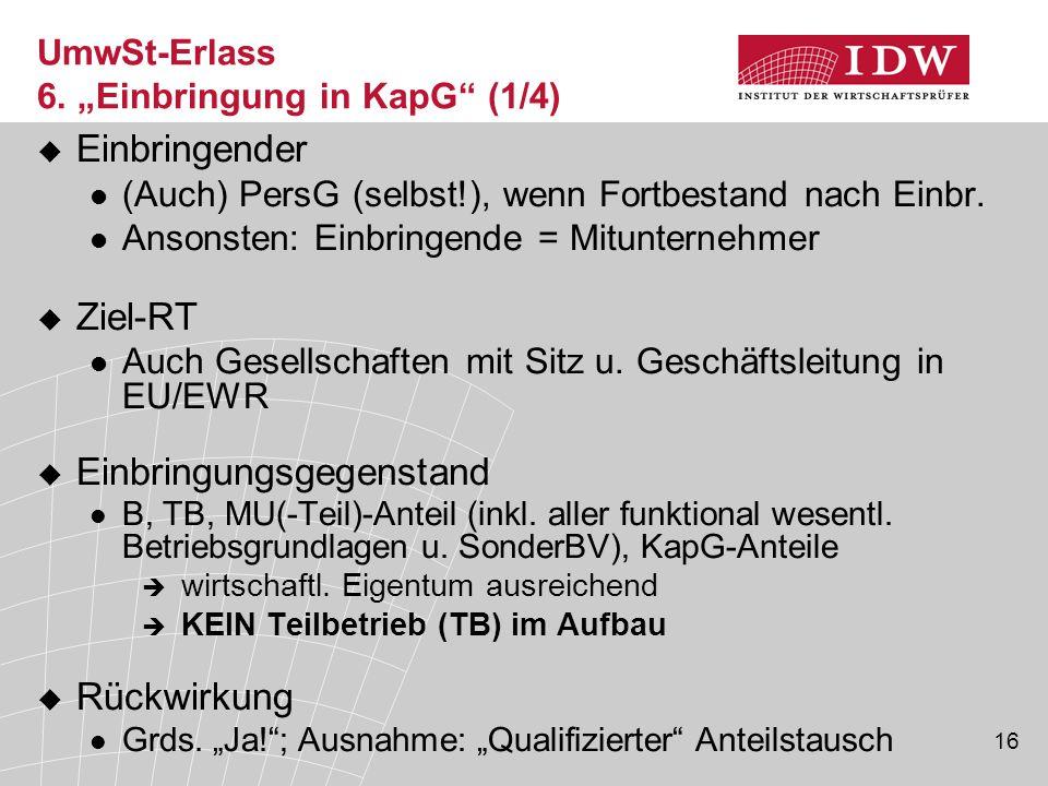"""UmwSt-Erlass 6. """"Einbringung in KapG (1/4)"""