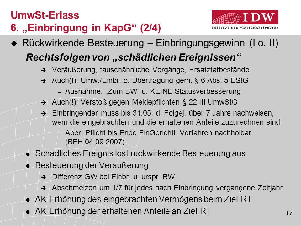 """UmwSt-Erlass 6. """"Einbringung in KapG (2/4)"""
