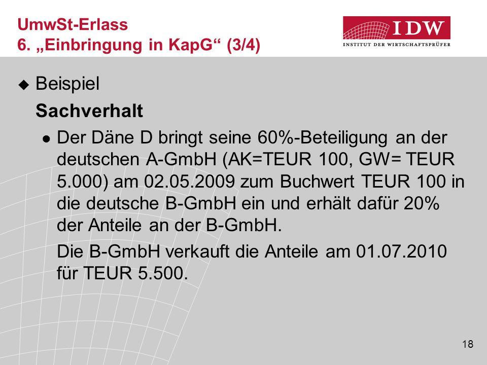 """UmwSt-Erlass 6. """"Einbringung in KapG (3/4)"""