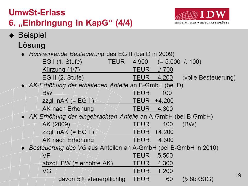 """UmwSt-Erlass 6. """"Einbringung in KapG (4/4)"""