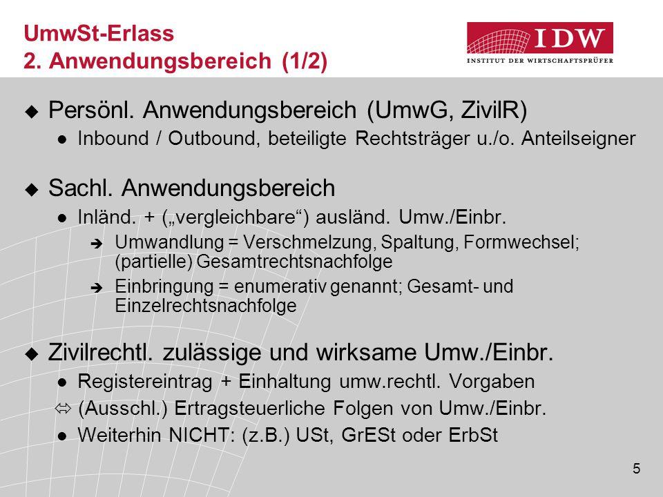 UmwSt-Erlass 2. Anwendungsbereich (1/2)