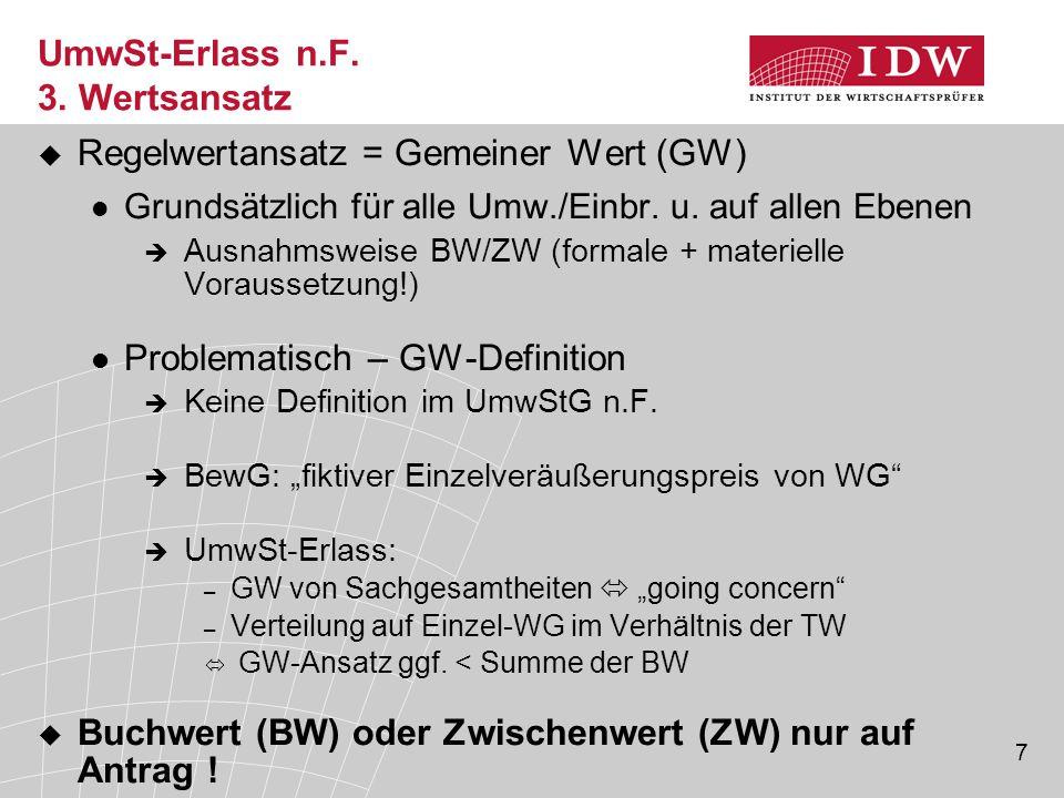 UmwSt-Erlass n.F. 3. Wertsansatz