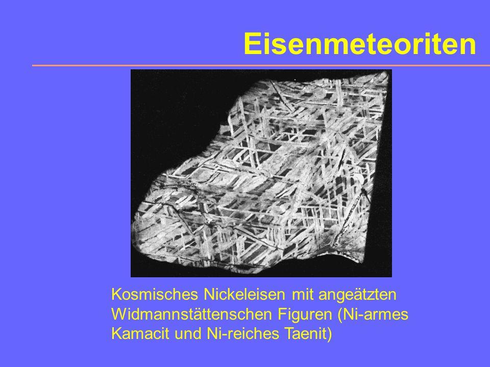 Eisenmeteoriten Kosmisches Nickeleisen mit angeätzten Widmannstättenschen Figuren (Ni-armes Kamacit und Ni-reiches Taenit)