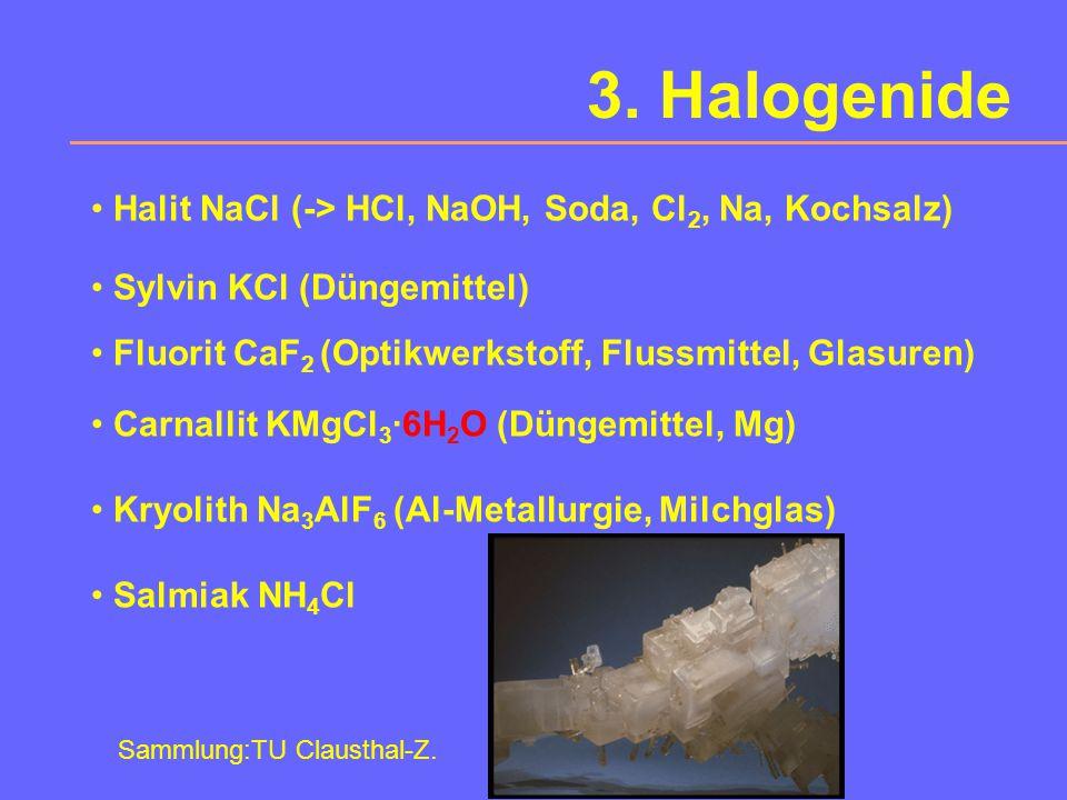 3. Halogenide Halit NaCl (-> HCl, NaOH, Soda, Cl2, Na, Kochsalz)