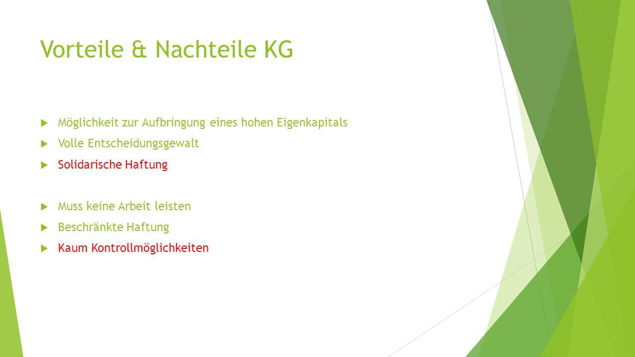 Vorteile & Nachteile KG