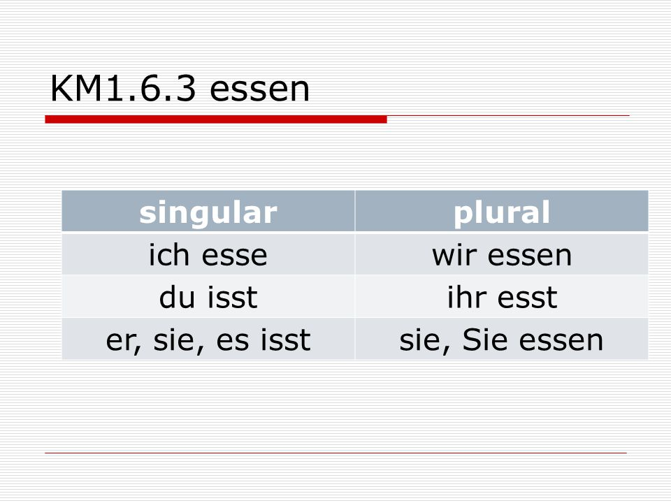 KM1.6.3 essen singular plural ich esse wir essen du isst ihr esst