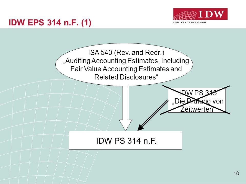 """IDW PS 315 """"Die Prüfung von Zeitwerten"""
