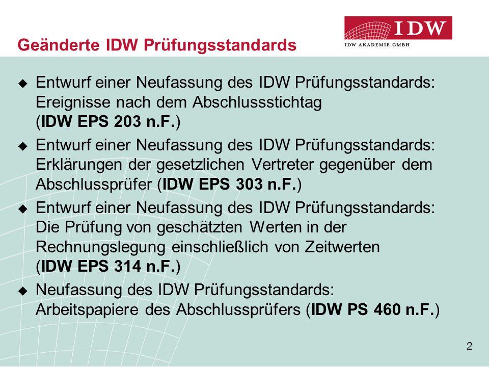 Geänderte IDW Prüfungsstandards