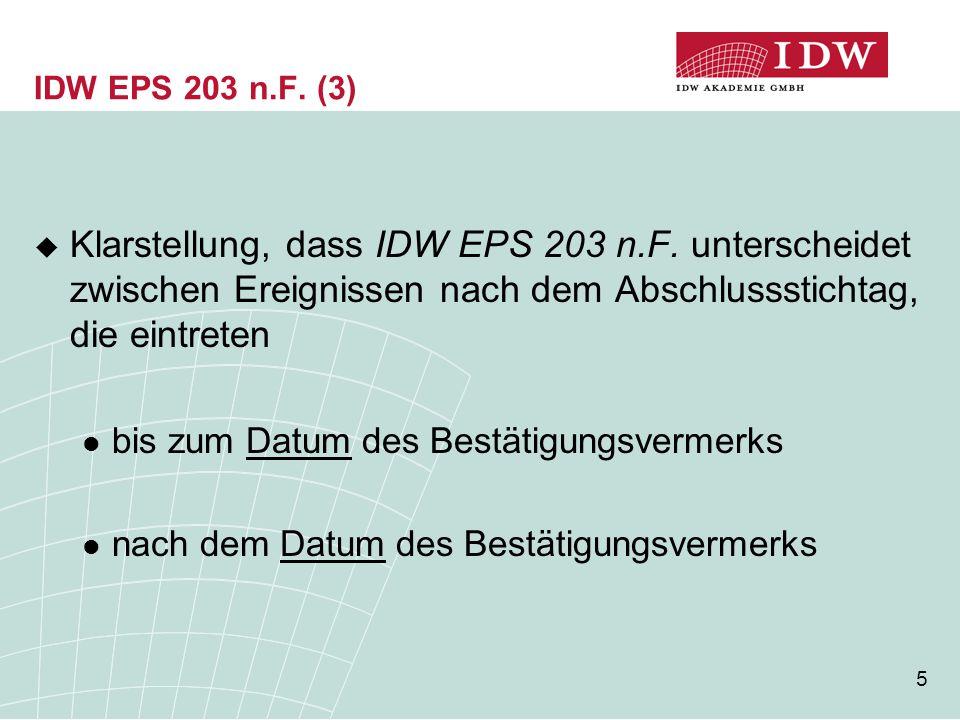 IDW EPS 203 n.F. (3) Klarstellung, dass IDW EPS 203 n.F. unterscheidet zwischen Ereignissen nach dem Abschlussstichtag, die eintreten.