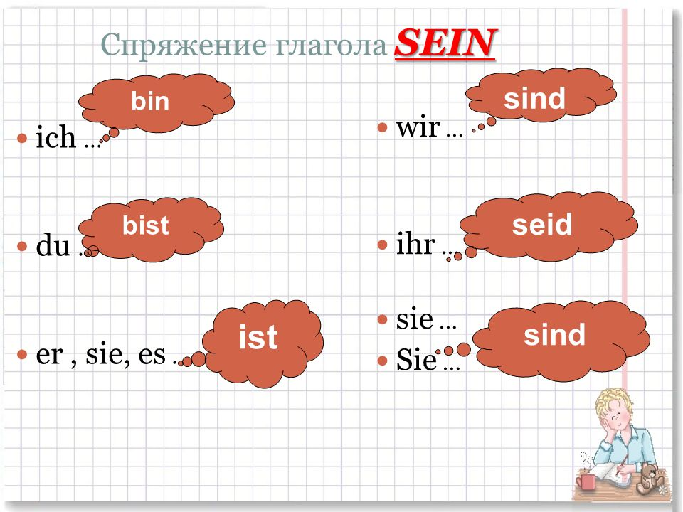 Спряжение глагола SEIN