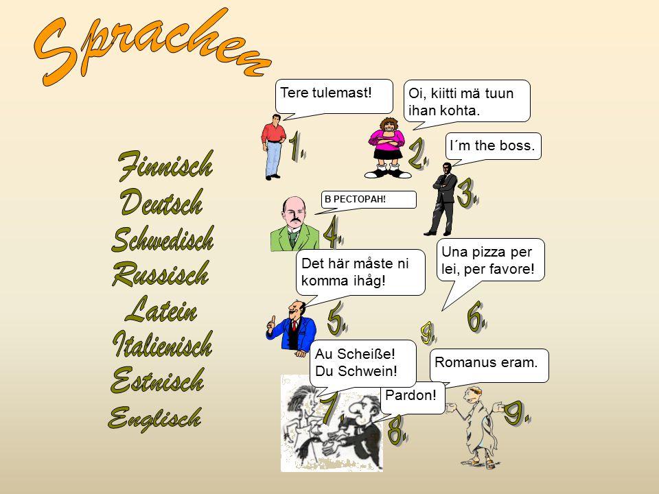 Sprachen 1. 2. 3. Deutsch 4. Schwedisch Russisch 6. 5. Latein