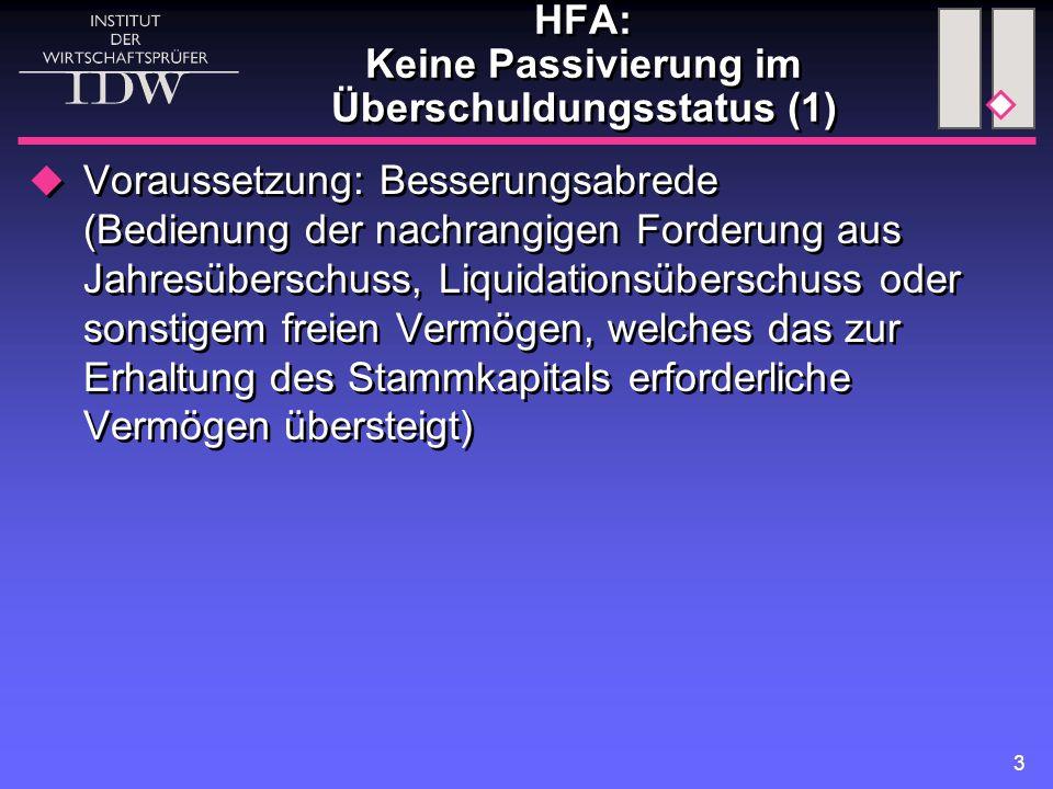 HFA: Keine Passivierung im Überschuldungsstatus (1)