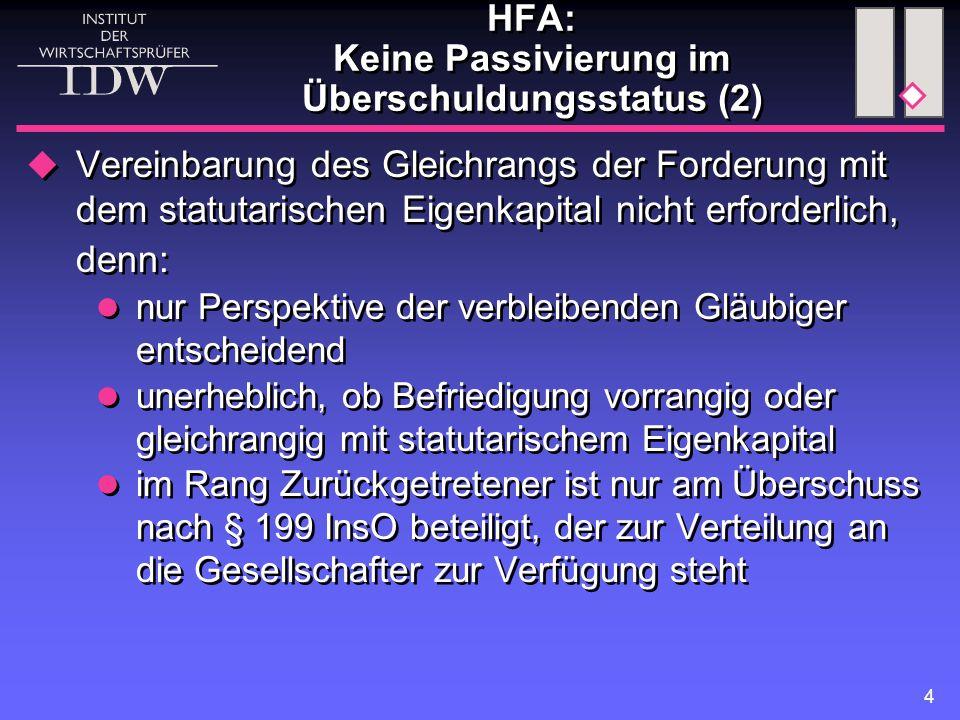 HFA: Keine Passivierung im Überschuldungsstatus (2)