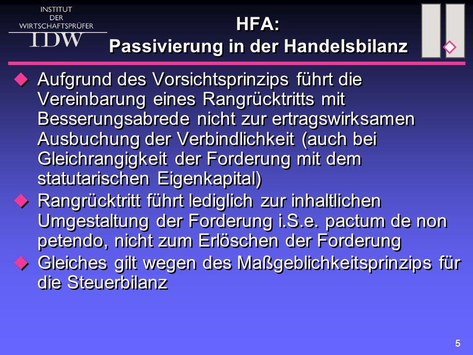 HFA: Passivierung in der Handelsbilanz