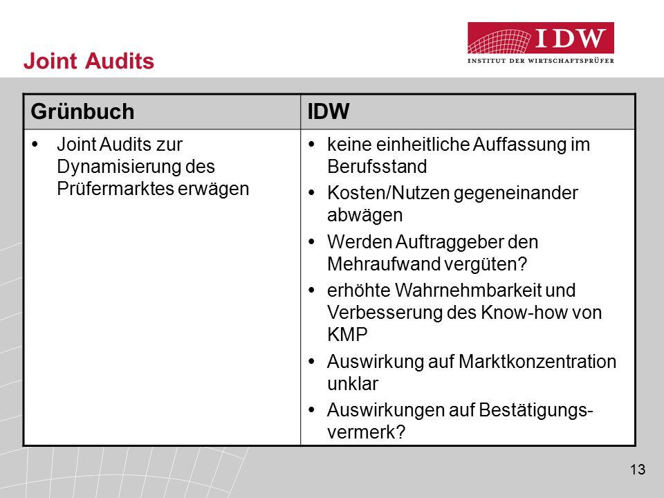 Joint Audits Grünbuch IDW