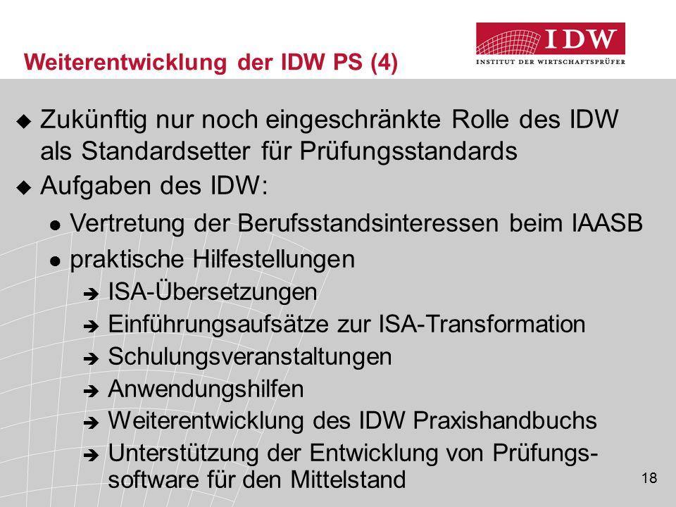 Weiterentwicklung der IDW PS (4)