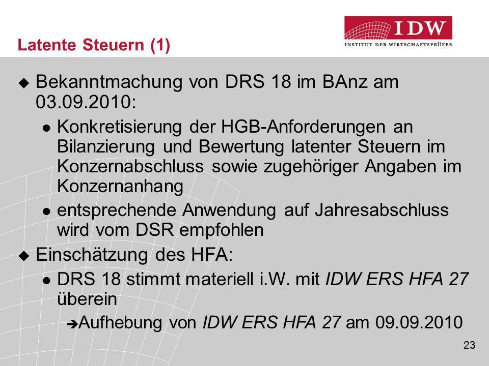 Bekanntmachung von DRS 18 im BAnz am 03.09.2010: