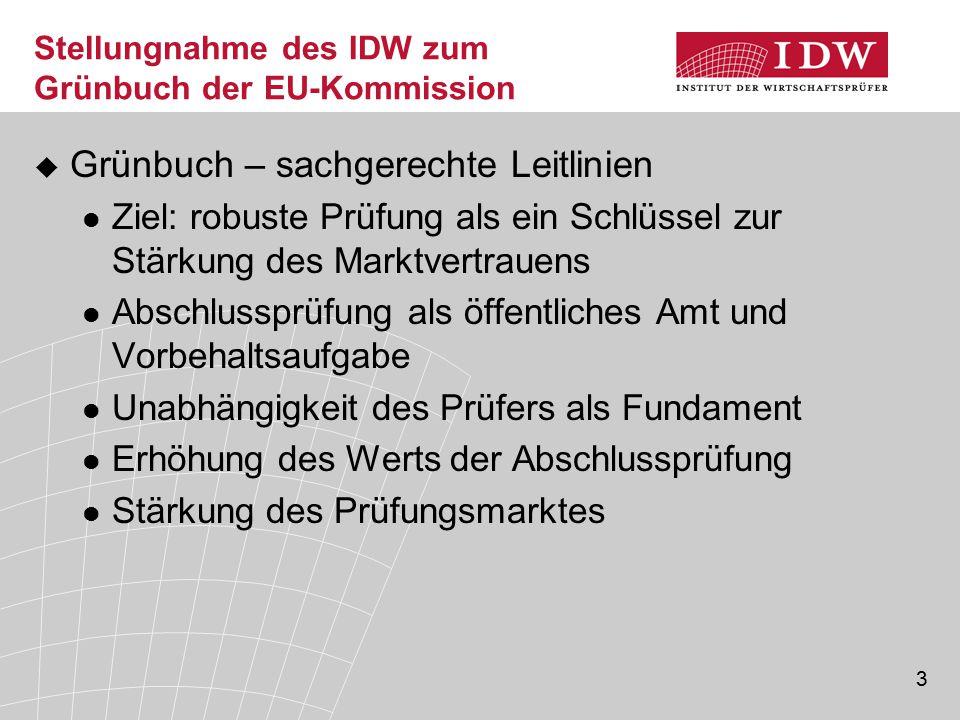 Stellungnahme des IDW zum Grünbuch der EU-Kommission