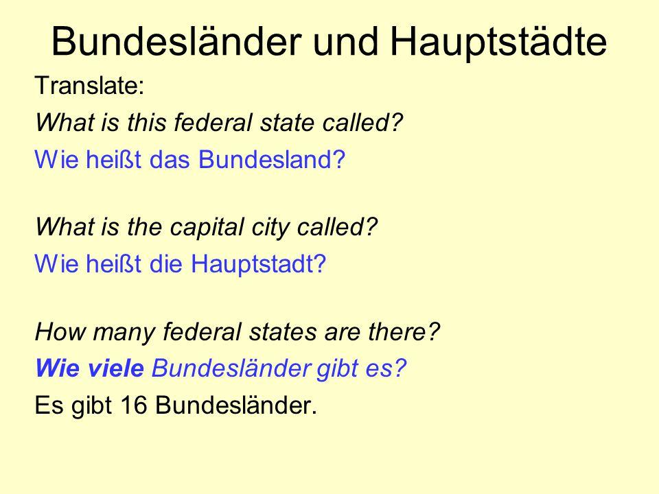 Bundesländer und Hauptstädte