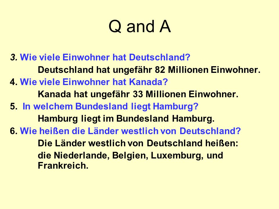 Q and A 3. Wie viele Einwohner hat Deutschland