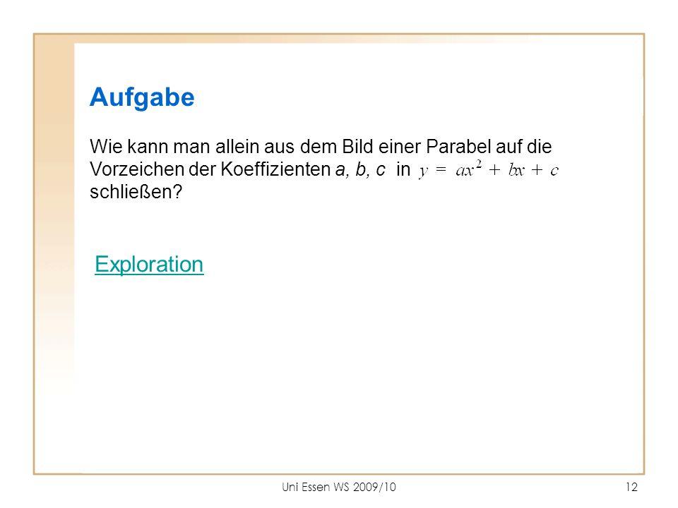 Aufgabe Wie kann man allein aus dem Bild einer Parabel auf die Vorzeichen der Koeffizienten a, b, c in schließen