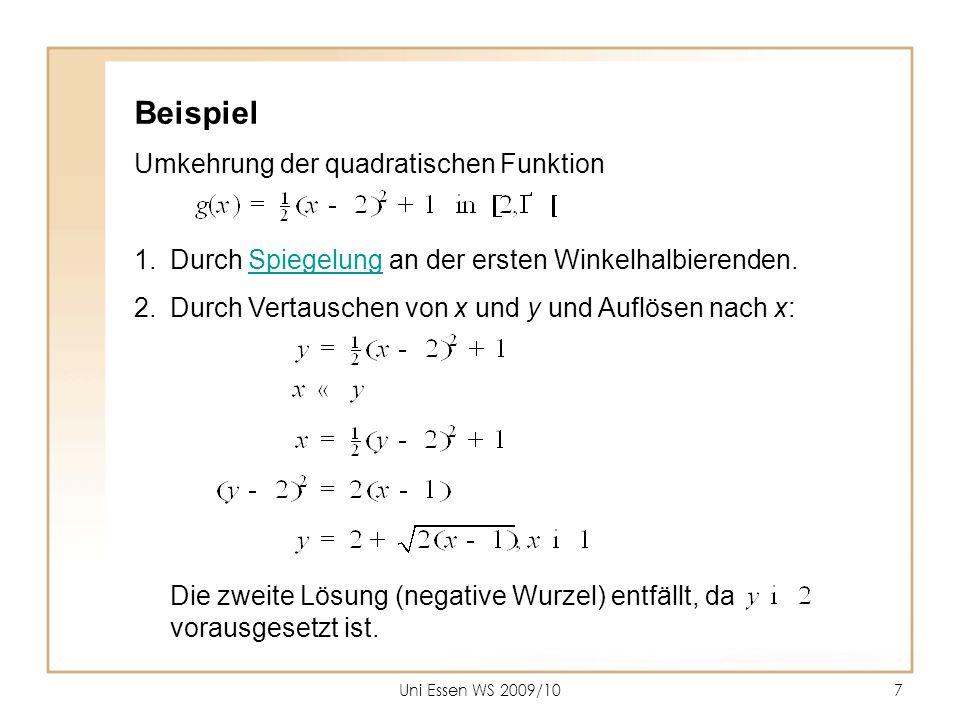 Beispiel Umkehrung der quadratischen Funktion