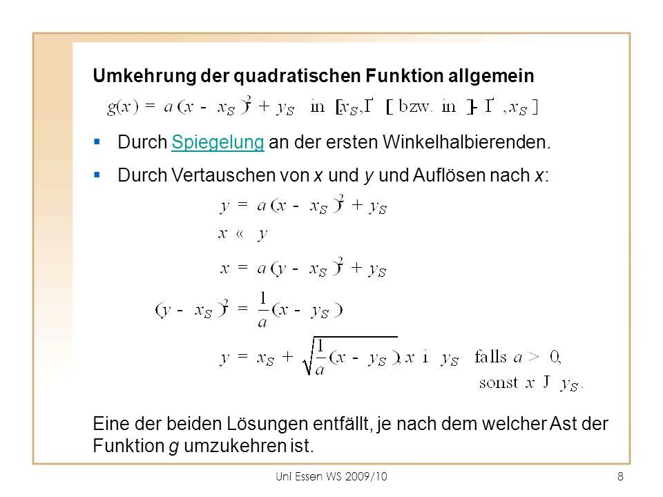 Umkehrung der quadratischen Funktion allgemein